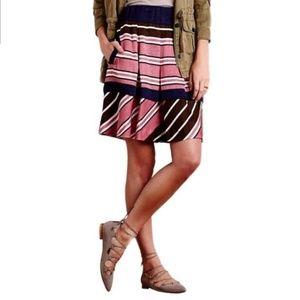 ANTHROPOLOGIE Maeve Ellery Stripe Skirt Pockets